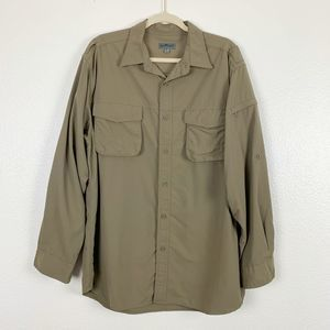TravelSmith Brown Button Down Long Sleeve Shirt